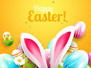 Обои Пасха Цветной фон Слова Английская Яйцо Ушки кролика