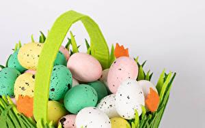Фотография Пасха Серый фон Яйца Разноцветные