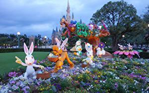 Обои Пасха Япония Токио Парки Креативные Кролики Дизайн Яйца Disney Resort Природа