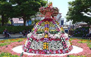 Фото Пасха Япония Токио Парки Диснейленд Розы Лилия Дизайна Шляпа Яйца Disney Resort