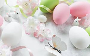 Обои для рабочего стола Пасха Кролики Бабочки Яйца Лента Пища
