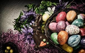 Картинка Пасха Сладости Шоколад Кролики Яйца