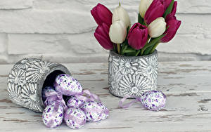 Картинки Пасха Тюльпаны Яиц Вазе Дизайн Цветы