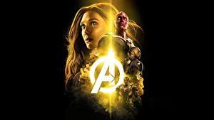 Картинка Мстители: Война бесконечности Черный фон Elizabeth Olsen Фильмы Девушки Знаменитости