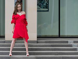 Фото Поза Платье Взгляд Emilia Piotrowska Девушки