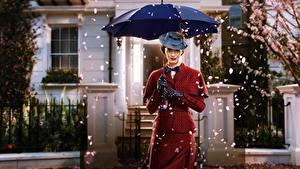 Фотографии Эмили Блант Зонт Шляпа Mary Poppins Returns Кино Знаменитости