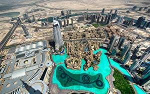Фотография Объединённые Арабские Эмираты Дубай Дома Небоскребы Сверху Burj Khalifa Города