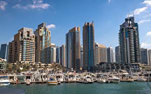 Фото ОАЭ Дубай Дома Небоскребы Пристань Лодки Яхта