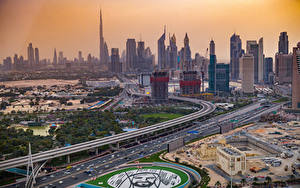 Фотография ОАЭ Дубай Здания Небоскребы Парк Улица Сверху New Dubai город