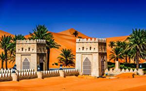 Обои для рабочего стола Объединённые Арабские Эмираты Тропический Храмы Уличные фонари Пальмы Abu Dhabi Города