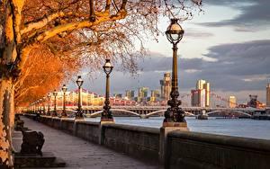 Обои для рабочего стола Англия Осень Река Мосты Лондоне Набережной Уличные фонари Деревья River Thames, Chelsea Bridge город