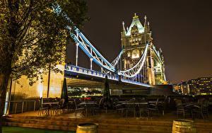 Картинки Англия Мосты Лондоне В ночи Города