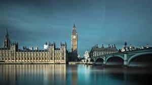 Фото Англия Мосты Реки Биг-Бен Лондоне