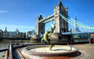 Картинка Англия Мосты Реки Фонтаны Лондоне Набережная HDR Города
