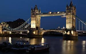 Фотографии Англия Мосты Река Речные суда Лондоне В ночи Башня Thames, Tower bridge