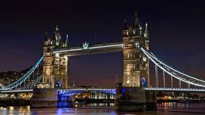 Обои Англия Мосты Река Лондон В ночи Thames, Tower bridge