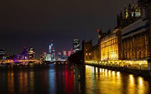 Фотография Англия Мосты Речка Лондоне В ночи Thames, palace of Westminster город