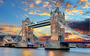 Фотография Англия Мост Лондоне Tower Bridge Thames River