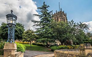 Обои Англия Собор Дерева Уличные фонари Bradford город