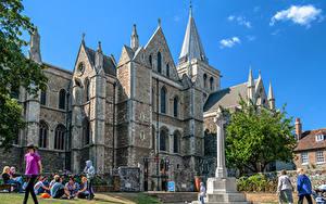 Обои Англия Собор Небо Люди Rochester Cathedral Города