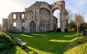 Обои Англия Церковь Скамья Malmesbury Abbey город