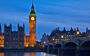 Картинки Англия Часы Реки Мосты Лондон Биг-Бен Westminster bridge, Thames