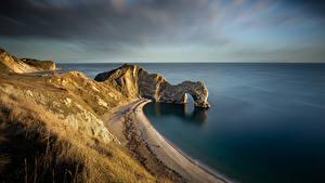Фотографии Англия Побережье Скала Арки Dorset Природа