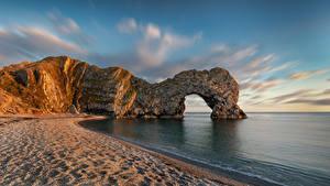 Фотография Англия Берег Скале Арка Пляж Dorset Природа
