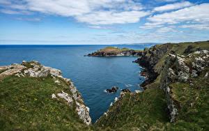 Картинка Англия Побережье Море Скале Cornwall Природа