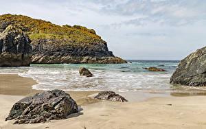 Фото Англия Берег Волны Камни Утес Kynance Cove Природа