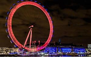 Фотография Англия Колесом обозрения Ночь Лондон Embankment