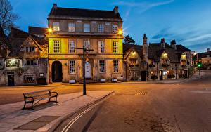 Фотография Англия Вечер Здания Улица Скамья Уличные фонари Wiltshire, Bradford-on-Avon город