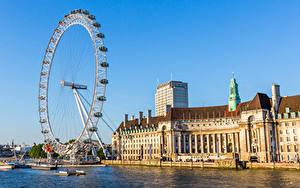 Картинки Англия Колесо обозрения Лондон