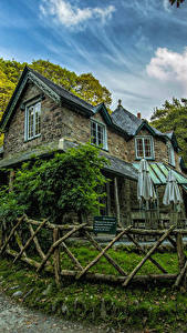 Картинка Англия Дома Дизайна Забора Lynmouth город
