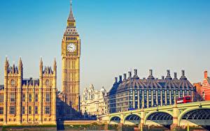 Фото Англия Здания Мосты Лондон Биг-Бен