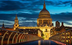 Фото Англия Здания Мосты Вечер Лондоне Забором Уличные фонари Millennium Bridge