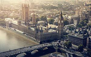 Картинки Англия Дома Мосты Реки Лондоне Биг-Бен