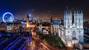 Обои Англия Здания Собор Лондон Ночные Колесо обозрения