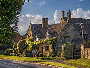 Фотографии Англия Дома Село Улица Кусты Chipping Campden, Gloucestershire