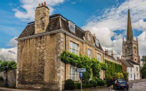 Картинка Англия Здания Улиц Lechlade Города