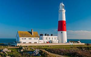 Обои Англия Дома Маяки Portland Bill Lighthouse Природа