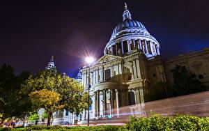 Фотографии Англия Дома Лондоне Улица В ночи Уличные фонари Дерева Скорость Города
