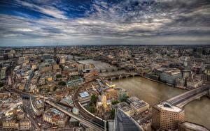 Обои Англия Здания Реки Мосты Небо Лондон Мегаполис HDR Сверху