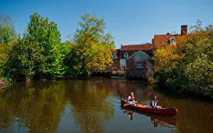 Обои Англия Здания Реки Лодки Dedham Природа