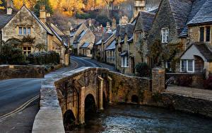 Фото Англия Здания Реки Мосты Деревня Улица Castle Combe Wiltshire Города