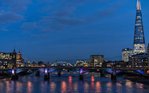 Фото Англия Дома Река Мосты Вечер Лондон
