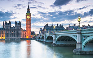 Обои Англия Здания Реки Мосты Вечер Лондоне Биг-Бен Уличные фонари