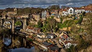 Фото Англия Здания Реки Мосты Knaresborough Города