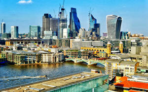 Картинка Англия Дома Реки Мосты Лондоне город