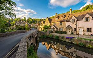 Фотография Англия Здания Речка Мост Wiltshire, Castle Combe, Cotswolds Природа